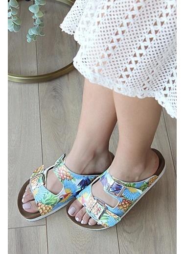 Pembe Potin A0610-20Ananas Ananas Kadın Sandalet A0610-20Ananas Renkli